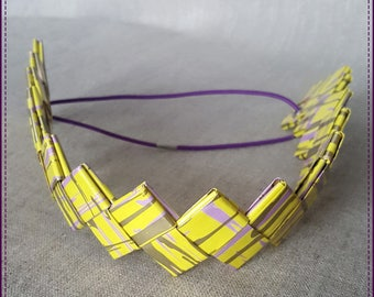 Headband, a band of recycled paper, laminated, yellow and purple