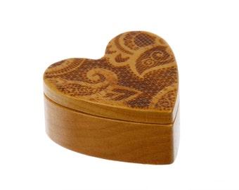 Lace Design Heart Shaped Box, 2-1/4