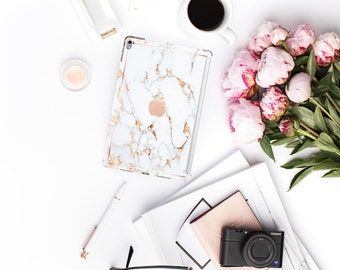 "iPad Case . iPad Pro 10.5 . Bianco Sivec Gold Veins Marble with Rose Gold for the   iPad Pro 12.9"" Smart Keyboard compatible Hard Case"