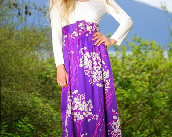 60s Belted Maxi Dress, Vintage Psychedelic Dress Gown, Cherry Blossom Purple Floral Dress, Long Sleeve Maxi Dress, 60s Mod Dress Size Small