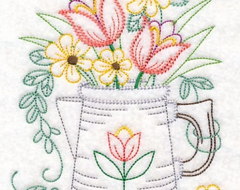 Embroidered Kitchen Towels, Tea Towels, Housewarming Gift, Watering Can With Flowers Towel