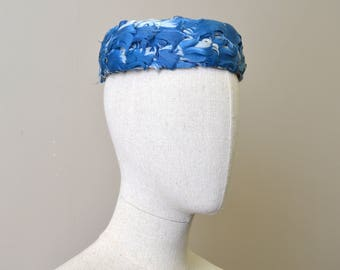 1950s Blue Feather Pillbox Hat