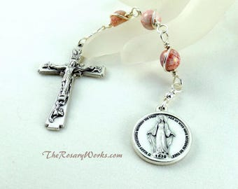 Three Hail Mary Devotion Chaplet Miraculous Medal Pink Luster Bohemian Glass Wire Wrapped Unbreakable Cathoic Prayer Beads