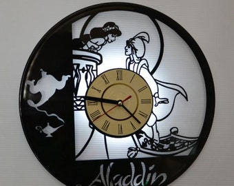 Aladdin Jasmine lamp, Aladdin vinyl record wall clock, Aladdin white led night light, Aladdin gifts ideas for kids