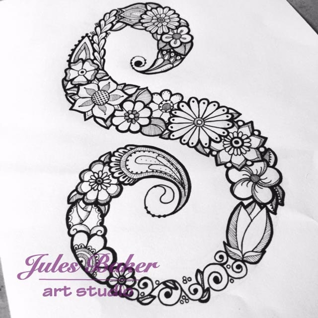 Digital Coloring Page Letter S From
