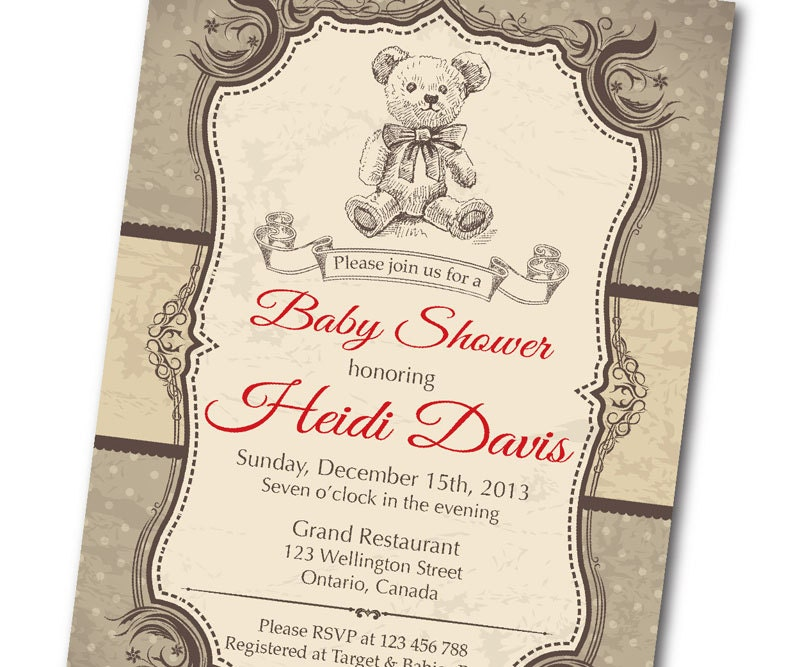 Bear baby shower invitation vintage retro bear baby boy zoom filmwisefo Choice Image