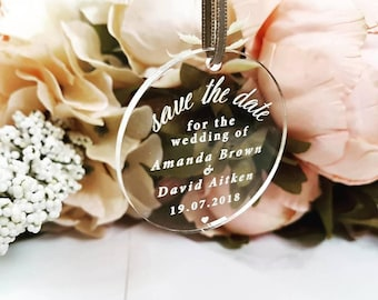 Save The Date Hanging Perspex Tag