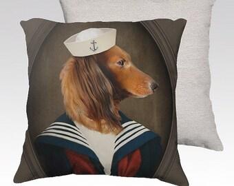 Dachshund Pillow Dog Pillowcase Doxie Pillow Cover Nautical Decorative Throw Pillows Home Decor 18x18 or 22x22 Pillow Case - Sailor Charli