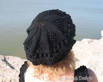 Knitting Pattern 187 Lace Beret Knitting Patterns Tam Lace Slouchy Hat Teen Adult Girls Women Ladies Black Blue Hat Spring Summer Autumn