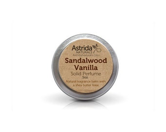 Sandalwood Vanilla Solid Perfume Fragrance Balm with Shea Butter
