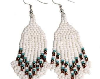 Drop Earrings White Native American Style Jewelry Confetti Tassel Ethnic Tribal indian Seed Beaded Handmade Boho Statement Fringe Turquoise