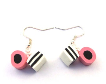 Faux Liquorice Allsorts Sweets Clay Drop Earrings