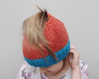 Messy bun hat, kids messy bun beanie, ponytail beanie, ponytail hat, knit wool bun hat, orange hat, ready to ship