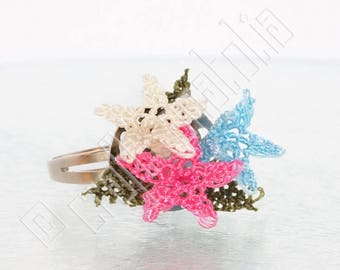 Oya Needle Lace Ring  - Three Dainty Flowers