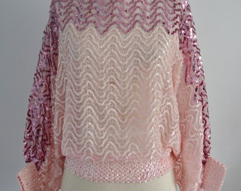 BATWING DISCO GLAM Sequined Beaded Top Blouse Light Pink & Fuchsia Street Style