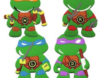 Teenage Mutant Ninja Turtle Travel Luggage Bag Suitcase Tag Michelangelo, Leonardo, Raphael, Donatello