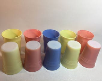 Vintage Hazel Atlas Pastel Moderntone Platonite Tumblers, Set of 10