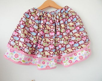 Animal skirt for 5-6yrs cotton skirt for girls, toddlers, double pink skirt gift idea
