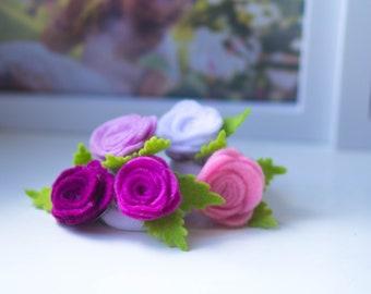 Ponytail / Handmade felt hair ties Set / floral hair accessory / Bow hair ties,/ Hair Ties flowers, Hair Ties rose /set of 5 bright colours