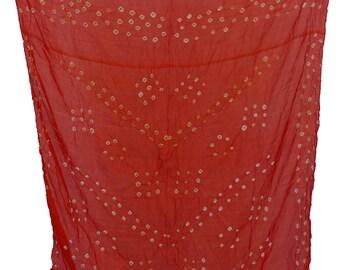 Hand-Printed Art Silk Scarf Mandala Solid Color, 41 x 41 Inches (Fire Orange)