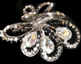 New Crystal  & Rhinestone Silver 1 1/2'' Hair Claw Clip
