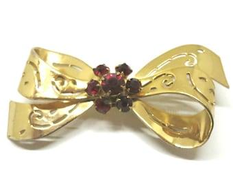 Red Rhinestone Bow Brooch - Vintage, Gold Tone, Red Rhinestone, Open Work Pin