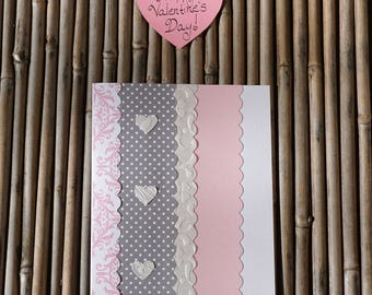 Love Card – Handmade Card - Birthday Card – Anniversary Card – Romantic Card – Anytime Card – Pink and Gray Embossed Love Card
