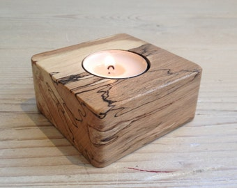 Tealight holder, square candle holder, square tealight holder, Scottish, spalted beech, wood gift, wooden, hygge, unique, handmade, natural