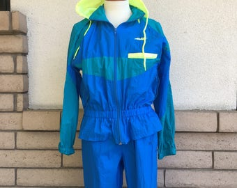 Vintage 90s Neon Avia Track Suit Running Joggers Tapered Legs Workout Sweatsuit Women's Size Small