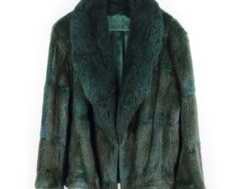 Handmade / Vintage / Upcycled rare dark green genuine mink fur. Perfect short winter jacket / coat