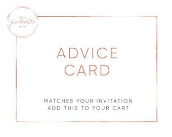 Advice Card, Baby Shower Advice Card, Advice for Mom, Baby Shower, Custom Invitations, DIY, Printable Invitations