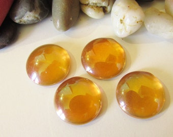 D-03538 - 4 Glass Cabochons red Orange 16mm