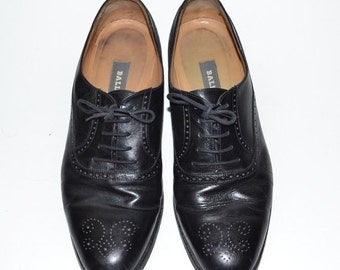 ON SALE Vintage Bally Chadwick Black All Leather Mens Shoes 9D Oxford Dress Shoes Made in Italy Size 8.5D 8D