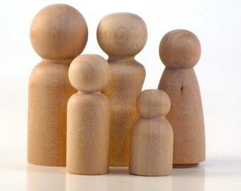Wood Peg Dolls - 50 Families of 5 - Unfinishes