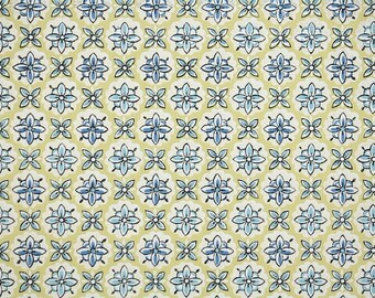 1940s Vintage Wallpaper by the Yard - Geometric Wallpaper Yellow and Blue Design