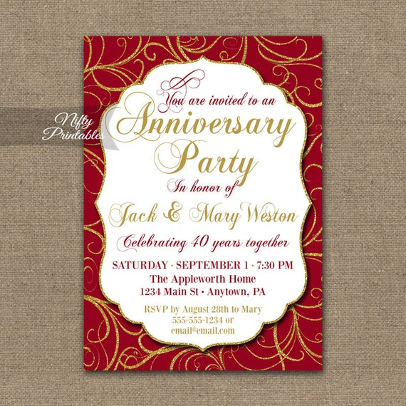 Exceptional 40th Anniversary Invitations Printable 40th Wedding