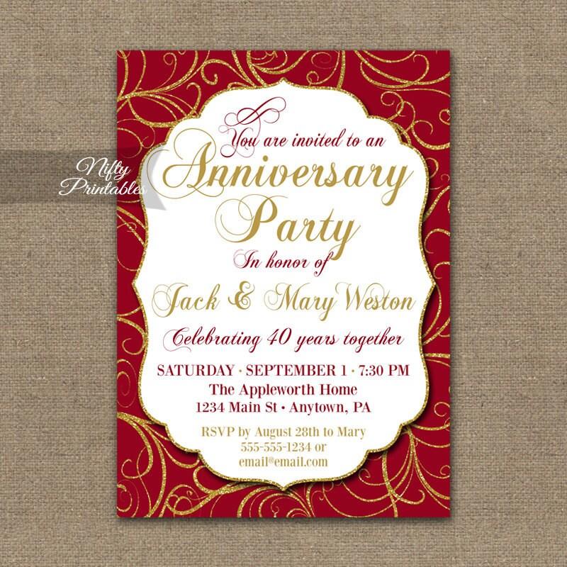 40th Anniversary Invitations Printable 40th Wedding