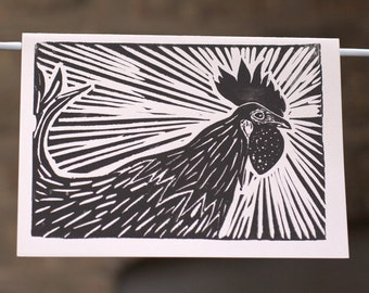 Linocut Rooster Note Card