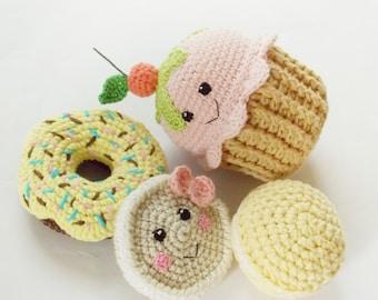 Crochet Cupcake, donut yellow ,lemon macaroni,  nursery decor,baby shower gift ,Teething Toy,crochet dessert, Birthday gift ,Christmas gift