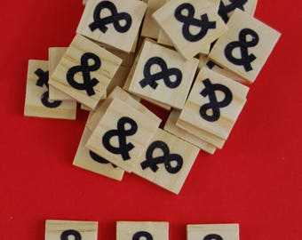 Symbol Scrabble Tiles - Bags of Wooden Tiles - 18mm x 20mm For Crafting