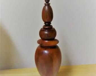 "Vintage ""Vienneau"" Perfume Bottle * Turned Wood Maple Over Glass Bottle  1992"