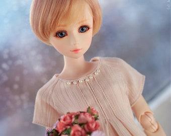 1/4 MSD bjd clothes / parabox obitsu / 45-47 dolls reglan cute kawaii beige frill tunic dress / mori style with lace and beads