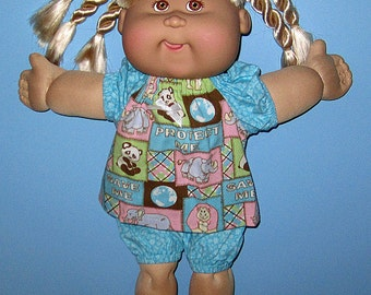 Cabbage Patch Kids, Doll Clothes,  Aqua Wild Animal Short Set,  Matching Shoes Included,  16  inch dolls Classic Vintage CPK Doll Clothes