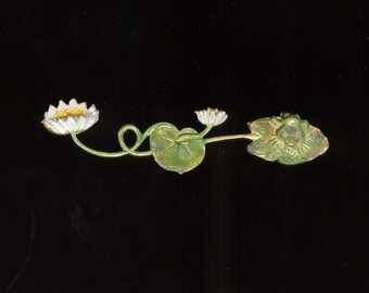 "3-1/8"" Hand Painted Patina Over Brass Lily Pad & Frog Metal Finding Stamping Embellishment"