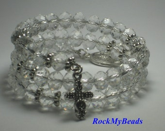 Clear Crystal Memory Wire Rosary Bracelet,rosary,religious bracelet,praying beads,wrap rosary,rosary beads,prayer beads,wrap rosary