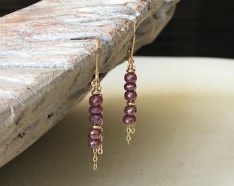 Mystic Ruby Dangle Earrings in Gold or Silver
