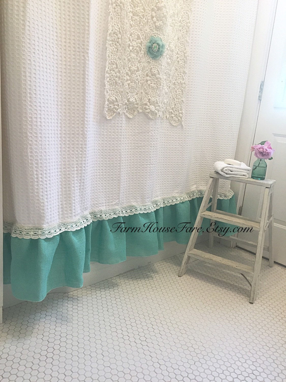 Farmhouse Blue Shower Curtain And White Shabby Chic