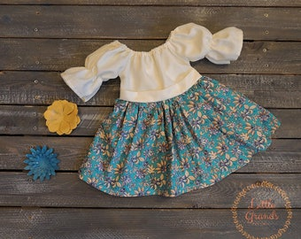 3 Month Cream and Teal Floral Peasant Dress