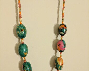 Fabric Covered Wooden Bead Necklace