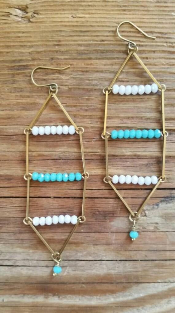 Beaded raw brass ladder earrings
